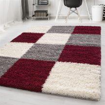 Ay life 1501 piros 80x150cm - kockás shaggy szőnyeg