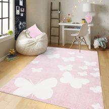Gyerekszőnyeg akció, EPERKE 160x230cm E331 rózsaszín pillangós szőnyeg