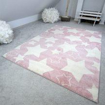 Gyerekszőnyeg akció, EPERKE 120x170cm sky rózsaszín nagy csillagos szőnyeg