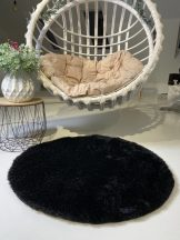 Prémium fekete kör shaggy szőnyeg 100cm