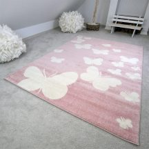 Gyerekszőnyeg akció, EPERKE 133x190cm E331 rózsaszín pillangós szőnyeg