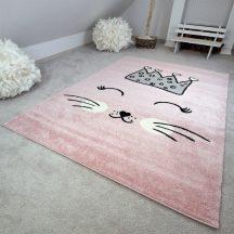 Gyerekszőnyeg akció, EPERKE 160x230cm E220 rózsaszín cuki cicás szőnyeg
