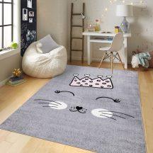 Gyerekszőnyeg akció, EPERKE 160x230cm E220 szürke cuki cicás szőnyeg