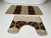 Fürdőszobai szőnyeg 2 részes - bézs sor körös