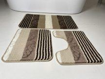 Fürdőszobai szőnyeg 3 részes - bézs csíkos-kagyló