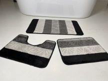 Fürdőszobai szőnyeg 3 részes - fekete virág