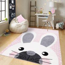 Gyerekszőnyeg akció, EPERKE 160x230cm 513 rózsaszín pöttyös nyuszis szőnyeg