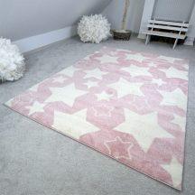 Gyerekszőnyeg akció, EPERKE 133x190cm sky rózsaszín nagy csillagos szőnyeg